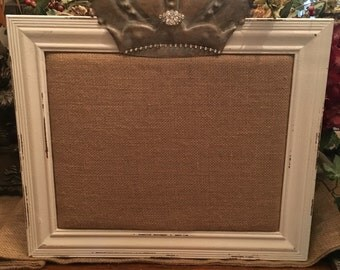 Shabby chic burlap bulletin  board with embellished crown
