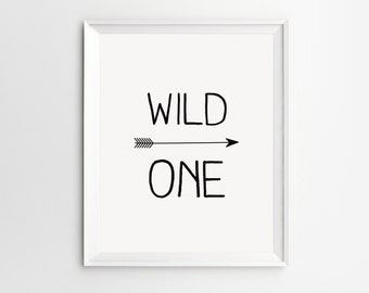 Wild One Sign, Nursery Decor, Nursery Prints, Arrow Nursery, Poster, Baby Room Decor, Playroom Decor, Children, Nursery Wall Art