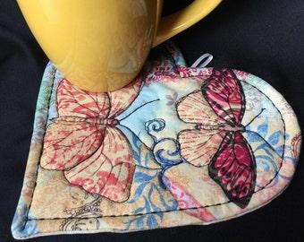 Butterfly Mug Mat, quilted mug mat, Heart & Butterfly mug mat, heart mug rug, Mother's Day gift, Housewarming, Butterfly heart mug mat, #29