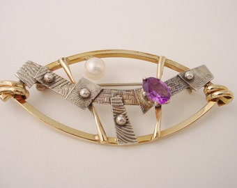 Marquise Shape Pin in Gold Filled Wire and Textured Sterling Silver with Lustrous Pearl and Deep Purple Faceted Amethyst