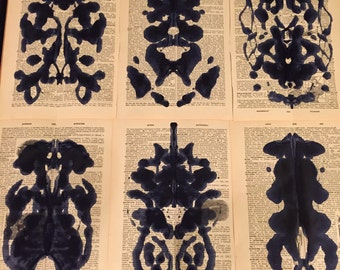 Set of 6 Unframed Inkblot Paintings on Antique Dictionary Paper
