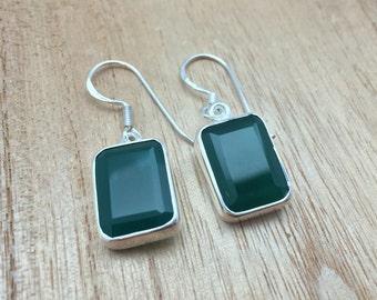 Green Onyx Silver Earrings // 925 Sterling Silver // Rectangular Shape // Hook Backing