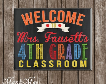 Teacher Welcome to Classroom Sign, Gift For Teacher, Teacher Poster, Chalkboard Poster, Teacher Appreciation, Digital, Printable