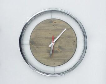 Bike rim clock, Recycled bike parts, Bike art, Upcycled bike parts, Bike home goods, Unique clock, Awesome clock, Recycled art, Modern clock