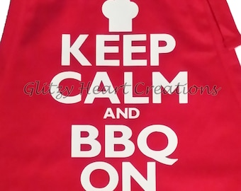 "Apron - ""Keep Calm and BBQ On"" Decorated Apron -BBQ Apron -Kitchen Apron - BBQ Humour Apron"