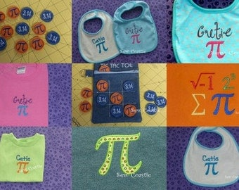 Set of 8 Pi Day embroidery designs