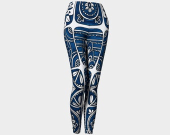 ROYAL Leggings    Blue-Navy-White-Abstract-Wearable Art-Women-Teen-Pants-Clothes-Clothing-Hand Sewn-XS-S-M-L-XL