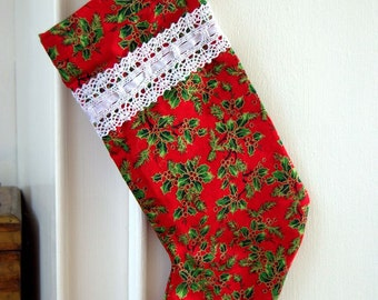 Handmade Holly Berry Christmas Stocking - 14""