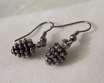 Pinecone Earrings  Antiqued Silver Pinecone Earrings  E48