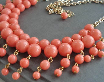 Coral Necklace, Coral Wedding Jewelry, Coral Statement Necklace, Bridesmaid Gift, Coral Chunky Necklace, Lucite Coral Bib Necklace Gift Idea