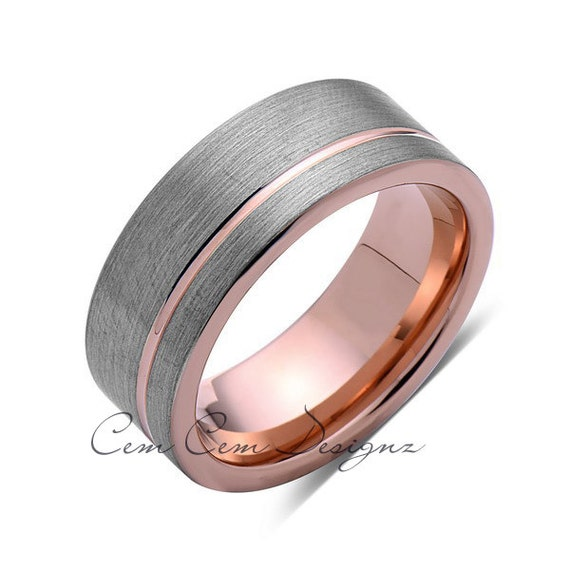 8 mm gun metal brushed grey tungsten with rose by for Mens gunmetal wedding rings