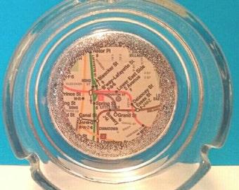 Handmade New York City Map Glass Ashtray, Felt Backed, New York City Souvenir, Ashtray, Made by Mod.