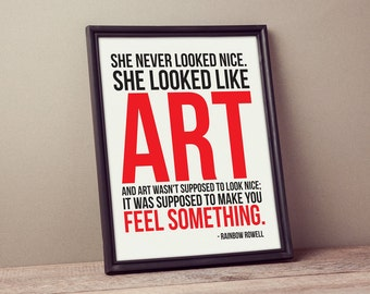 "Printable Art ""She Looked Like Art"" Poster Print Typography Motivational Inspirational Quote Modern Decor"