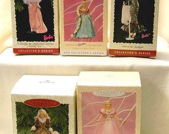 Hallmark Keepsake Barbie Ornaments - Various Series - Set of 5 Barbie Collection Ornaments -  NIB