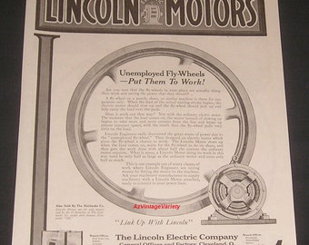 1921 Lincoln Electric Company, Cleveland, Ohio, Vintage Print Ad, Motors for Fly-Wheels
