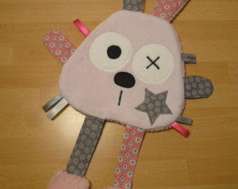 Doudou flat rabbit pink and grey flowery