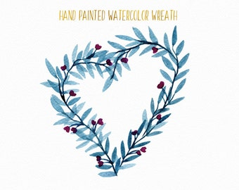 Watercolor leaves wreath, heart shaped blue branches clipart