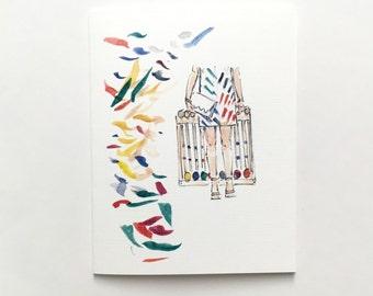 "Croquet? Watercolor Illustration/Card, 4"" x 5"""