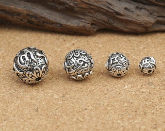 Sterling Silver Om mani padme hum Beads, Sterling Silver Round Beads, Sterling Silver Beads, Sterling Silver Buddhist Buddhism Bead - EZY125