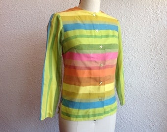 1960s Rainbow striped button up blouse