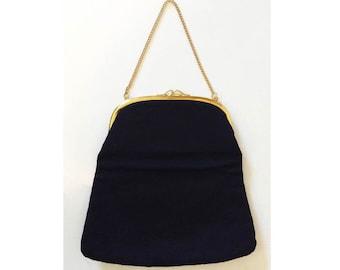 Vintage Fold-over Clutch or Hand Bag // 1950s Black Taffeta Purse w/ Gold Hardware // 50s evening bag