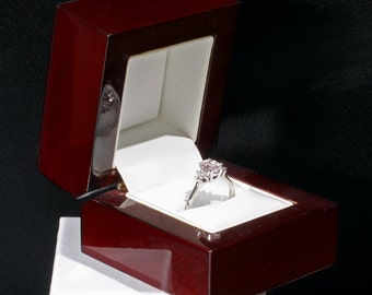 Cherrywood Collection Elegant Genuine Wood Engagement Wedding Ring Presentation Box