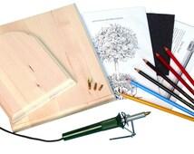Wood Burning Pen, Patterns, Color Pencils & Instructions Beginner WoodBurning Set, Pyrography Tool, Leather Craft Woodburner Detailer Kit