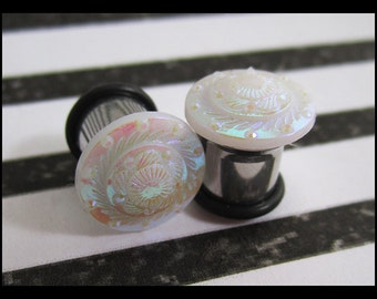 Fandango Pink Swirl on a Stainless Steel EAR TUNNEL plug Earrings you pick gauge sizes - 6g, 4g, 2g, 0g, 00g aka 4mm, 5mm, 6mm, 8mm, 10mm
