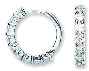 Silver Cz Huggies Hoop Earrings