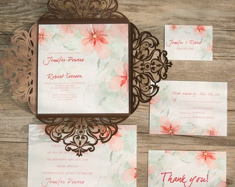 30 Rustic Brown Laser Cut Peach Floral Watercolor Wedding Invitations Set: Invitation, RSVP, Accommodation, Thank You Card