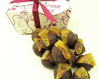 Valentines Gift, Chocolate truffles with dark chocolate and orange