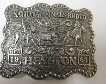 Vintage National Finals Rodeo Belt Buckle Hesston 1987