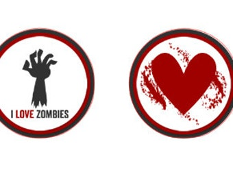 I love Zombies Stickers for Chocolate Kisses , 60 Stickers , Parties , Walking Dead , Fear the Walking Dead