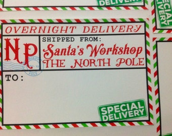 Santa's Overnight Delivery Gift Stickers, Tags, Labels , North Pole, Christmas , Workshop , kids, adults, magical