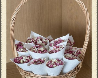 Flower girl basket filled with 12 natural lokta paper cones with  real petal confetti