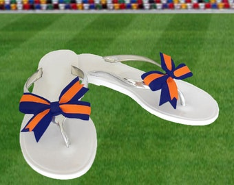 Orange + Navy Bow Jelly Sandals