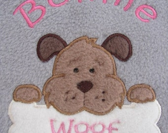 Personalised Dog / Puppy Blanket - Soft & Cosy Fleece - Cute Dog with Bone