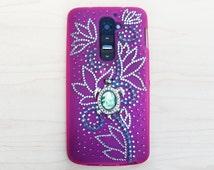 LG G2 smartphone case. Unique Handmade. Rhinestone: silver flowers, green plant. Turtle charm. Semi transparent durable pink soft case.