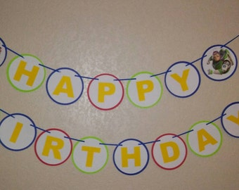 Toy Story Happy Birthday Banner. Woody and Buzzlight happy birthday banner. Free shipping USA
