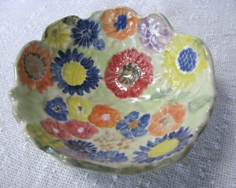 ceramic bowl, painted flower bowl, happy colors bowl, summer flowers in a bowl, friendship gift, catch-all bowl