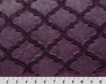 Shannon Fabrics Lattice Soft Cuddle Plum Minky Plush Fabric REMNANTS