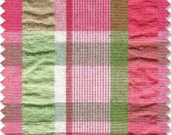 Doodlefish Pink and Green Plaid Fabric Remnants
