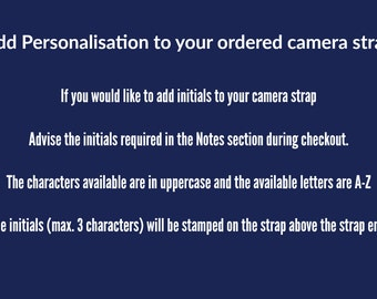 3 Letter Camera Neck Strap Personalisation