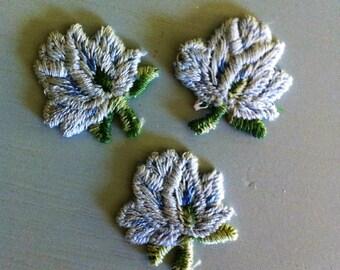 Vintage Flower Applique in Light Blue - Set of 3