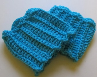 Crochet Boot Cuffs With Scallops in Turquoise Ready to Ship