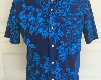 Vintage Men's Hawaiian Shirt Polynesian Dancer Graphics by Hawaiian Heritage Allan James