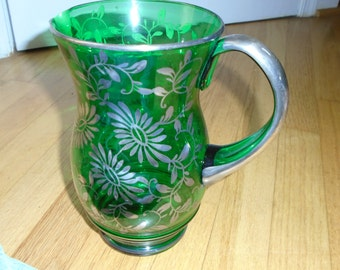Silver Overlay Green glass pitcher and 4 matching glasses.