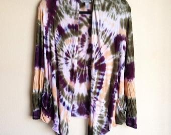 Tie Dye Cardigan - Handmade - Lightweight Sweater - Michigan made - Sizes S, M, L and XL - Hippie
