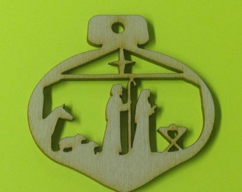 Wooden Nativity Bulb Shaped Silhouette Ornament