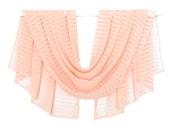 Salmon Chiffon Scarf, Silk Chiffon Scarf, Light Salmon Scarf, Salmon Silk Scarf, Coral Scarf, Blanket Scarf, Print Scarf, Pattern Scarf,